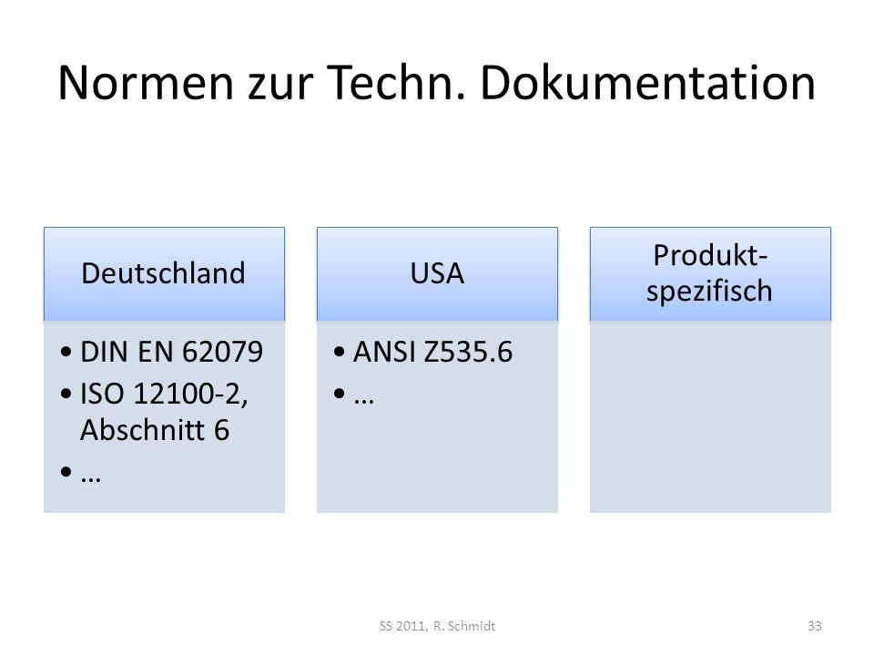 Normen zur Techn. Dokumentation Deutschland DIN EN 62079 ISO 12100-2, Abschnitt 6 … USA ANSI Z535.6 … Produkt- spezifisch SS 2011, R. Schmidt33