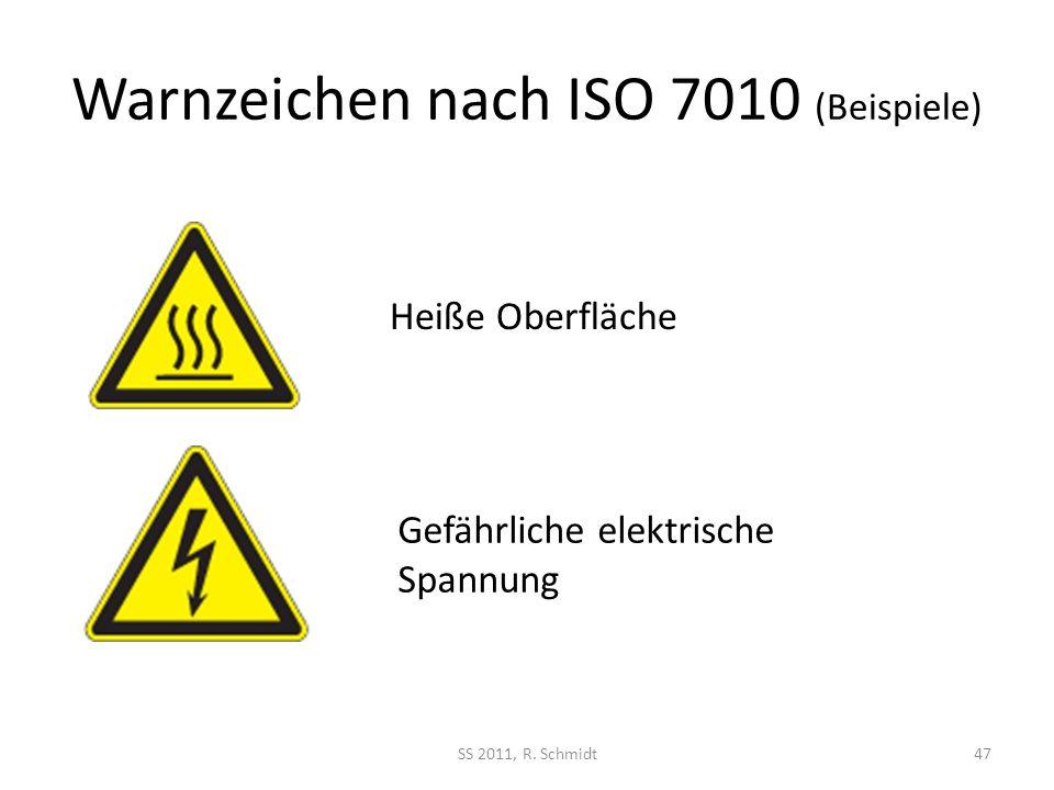 Warnzeichen nach ISO 7010 (Beispiele) SS 2011, R. Schmidt47 Heiße Oberfläche Gefährliche elektrische Spannung