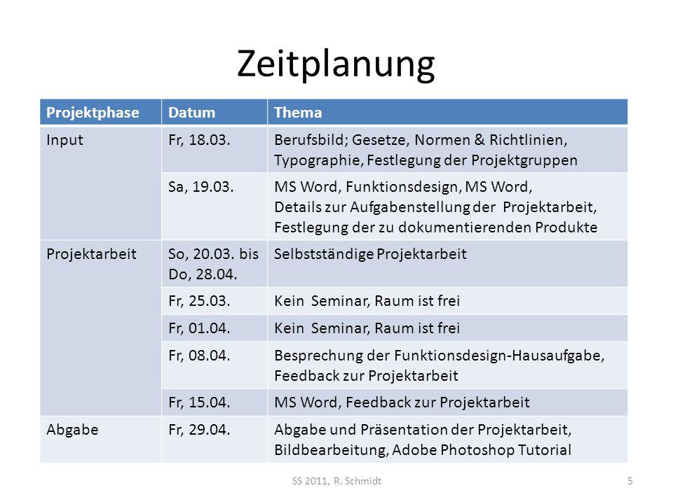 Zeitplanung ProjektphaseDatumThema InputFr, 18.03.Berufsbild; Gesetze, Normen & Richtlinien, Typographie, Festlegung der Projektgruppen Sa, 19.03.MS W