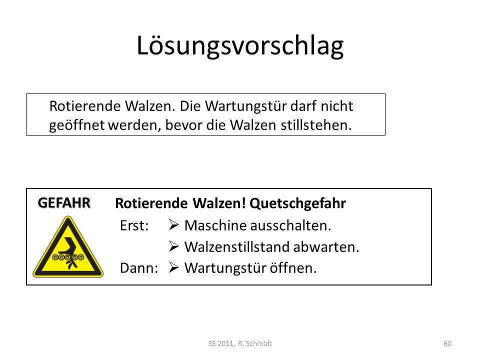 Lösungsvorschlag SS 2011, R. Schmidt60 Rotierende Walzen. Die Wartungstür darf nicht geöffnet werden, bevor die Walzen stillstehen. Rotierende Walzen!