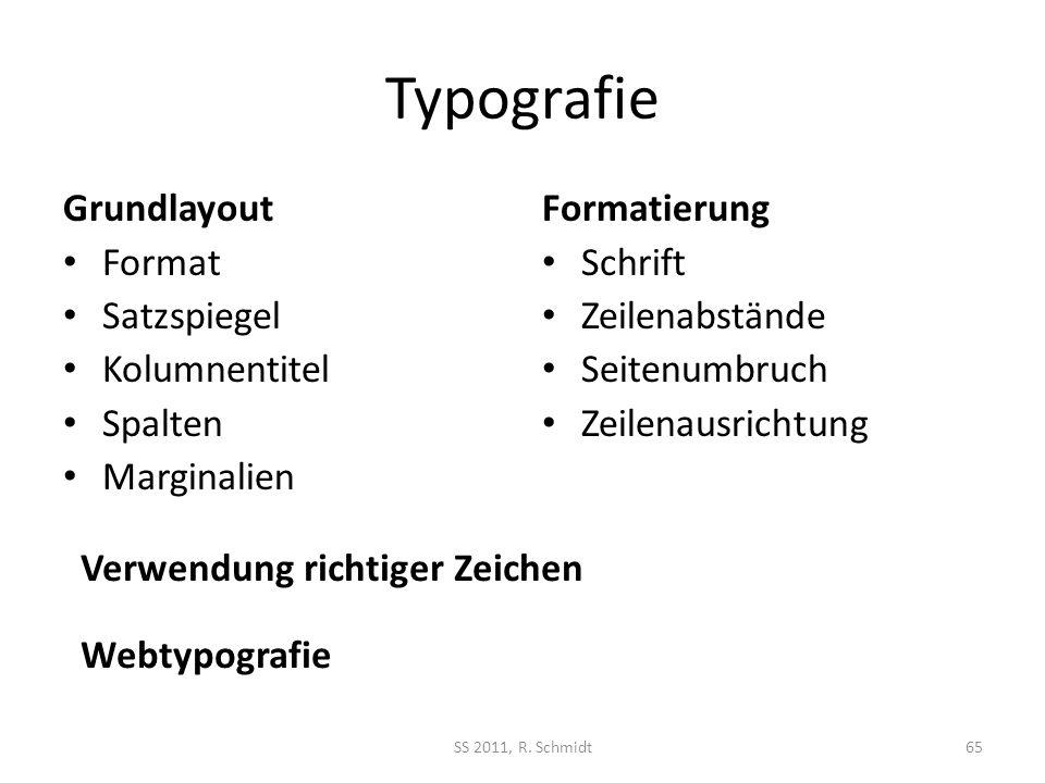 Typografie Grundlayout Format Satzspiegel Kolumnentitel Spalten Marginalien Formatierung Schrift Zeilenabstände Seitenumbruch Zeilenausrichtung SS 201