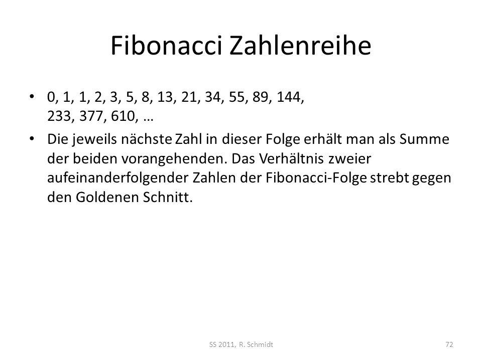 Fibonacci Zahlenreihe 0, 1, 1, 2, 3, 5, 8, 13, 21, 34, 55, 89, 144, 233, 377, 610, … Die jeweils nächste Zahl in dieser Folge erhält man als Summe der