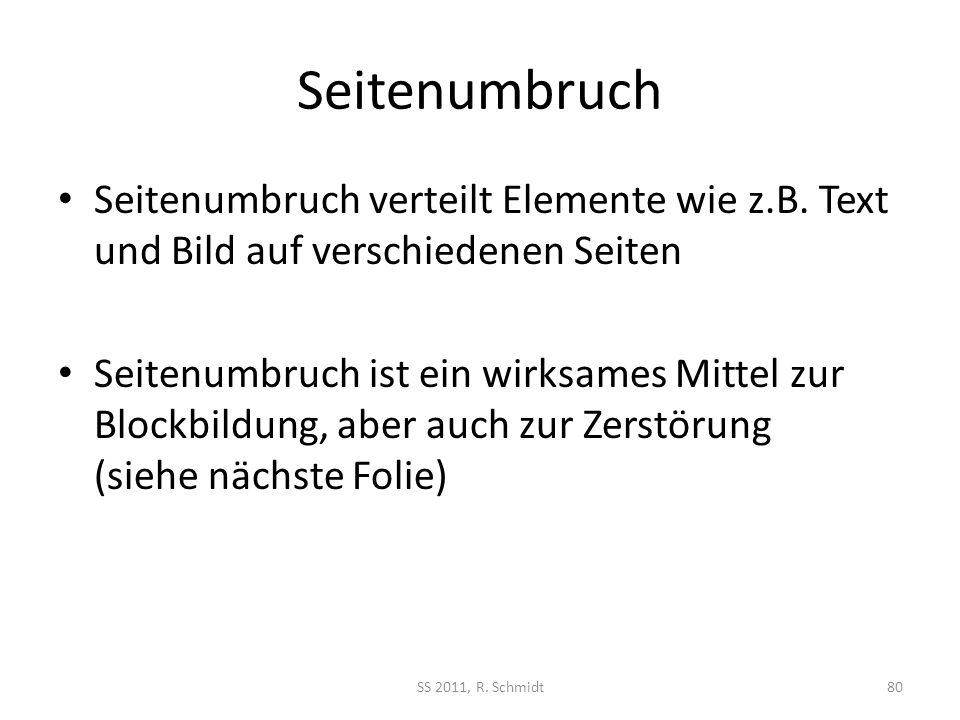 Seitenumbruch Seitenumbruch verteilt Elemente wie z.B. Text und Bild auf verschiedenen Seiten Seitenumbruch ist ein wirksames Mittel zur Blockbildung,