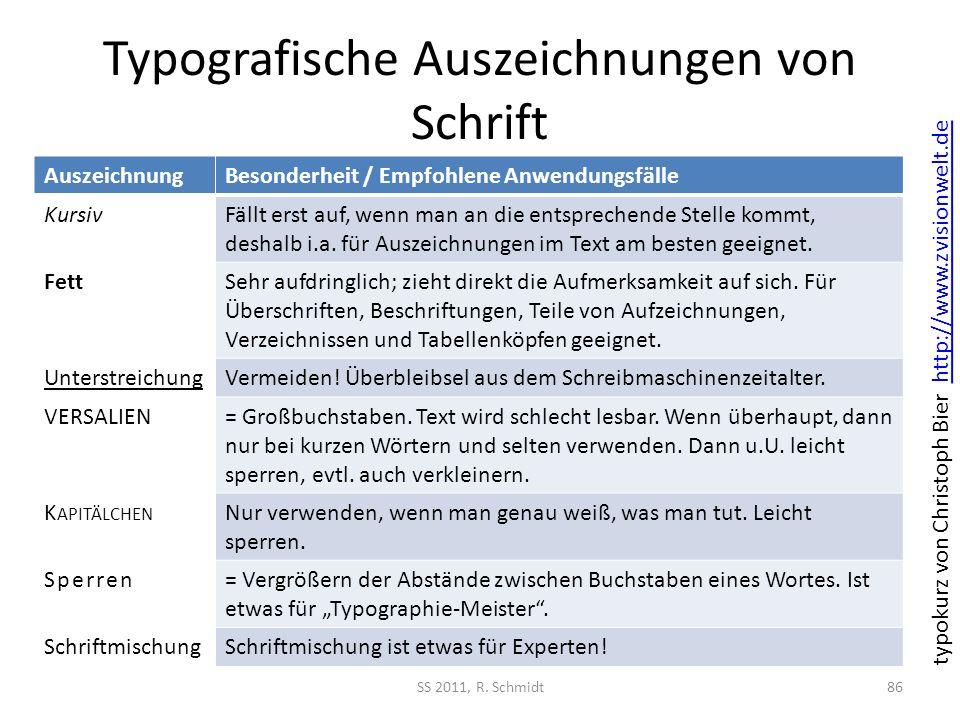Typografische Auszeichnungen von Schrift SS 2011, R. Schmidt86 AuszeichnungBesonderheit / Empfohlene Anwendungsfälle KursivFällt erst auf, wenn man an