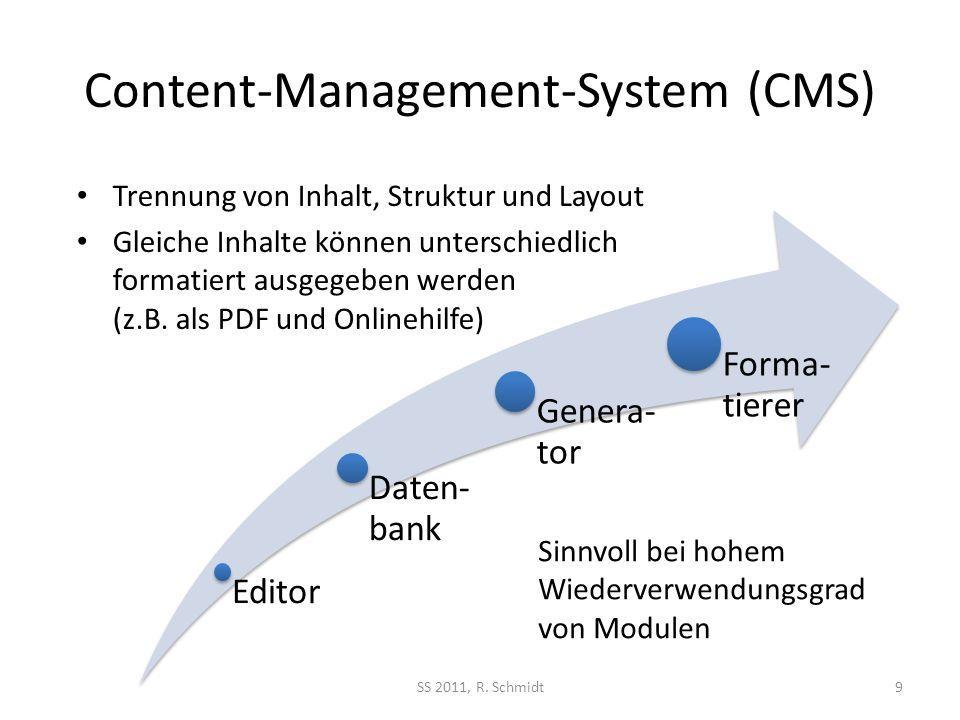 Content-Management-System (CMS) Editor Daten- bank Genera- tor Forma- tierer SS 2011, R. Schmidt9 Sinnvoll bei hohem Wiederverwendungsgrad von Modulen