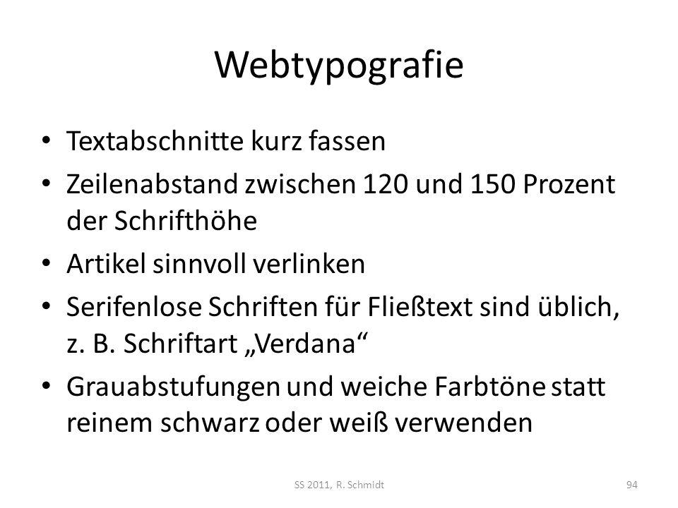 Webtypografie Textabschnitte kurz fassen Zeilenabstand zwischen 120 und 150 Prozent der Schrifthöhe Artikel sinnvoll verlinken Serifenlose Schriften f