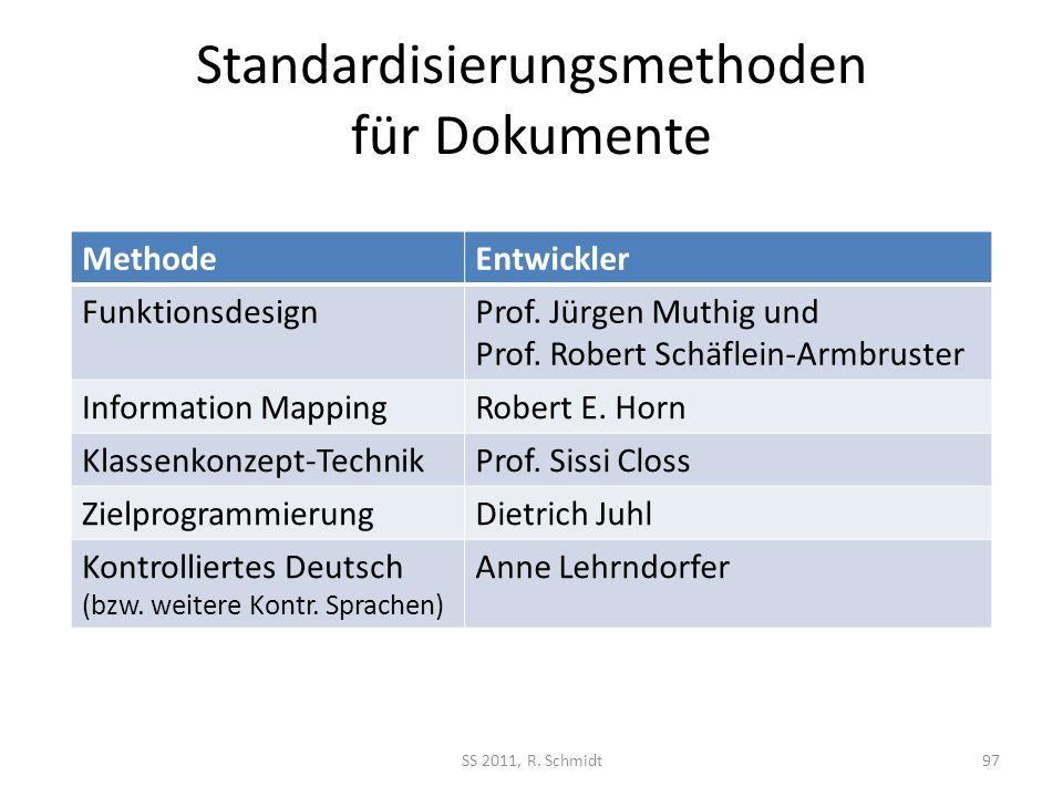 Standardisierungsmethoden für Dokumente SS 2011, R. Schmidt97 MethodeEntwickler FunktionsdesignProf. Jürgen Muthig und Prof. Robert Schäflein-Armbrust