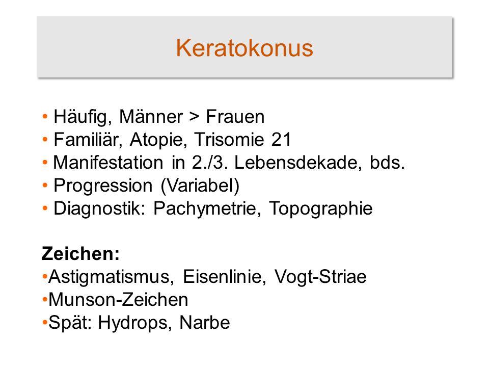 Keratokonus - Therapie Bis vor wenigen Jahren nur symptomatisch: Brille Kontaktlinse Transplantation (Keratoplastik) Kollagenvernetzung Progressionsstop Visusbesserung