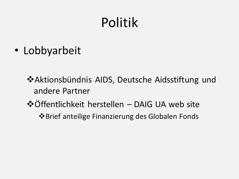 Politik Lobbyarbeit Aktionsbündnis AIDS, Deutsche Aidsstiftung und andere Partner Öffentlichkeit herstellen – DAIG UA web site Brief anteilige Finanzi
