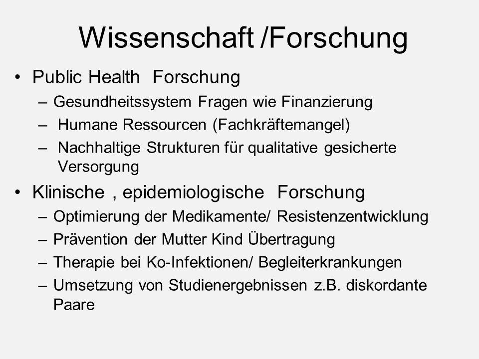Wissenschaft /Forschung Public Health Forschung –Gesundheitssystem Fragen wie Finanzierung – Humane Ressourcen (Fachkräftemangel) – Nachhaltige Strukt