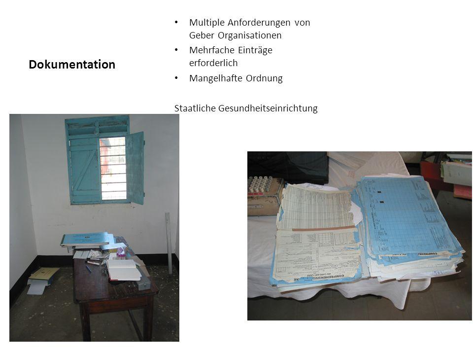 Dokumentation Multiple Anforderungen von Geber Organisationen Mehrfache Einträge erforderlich Mangelhafte Ordnung Staatliche Gesundheitseinrichtung