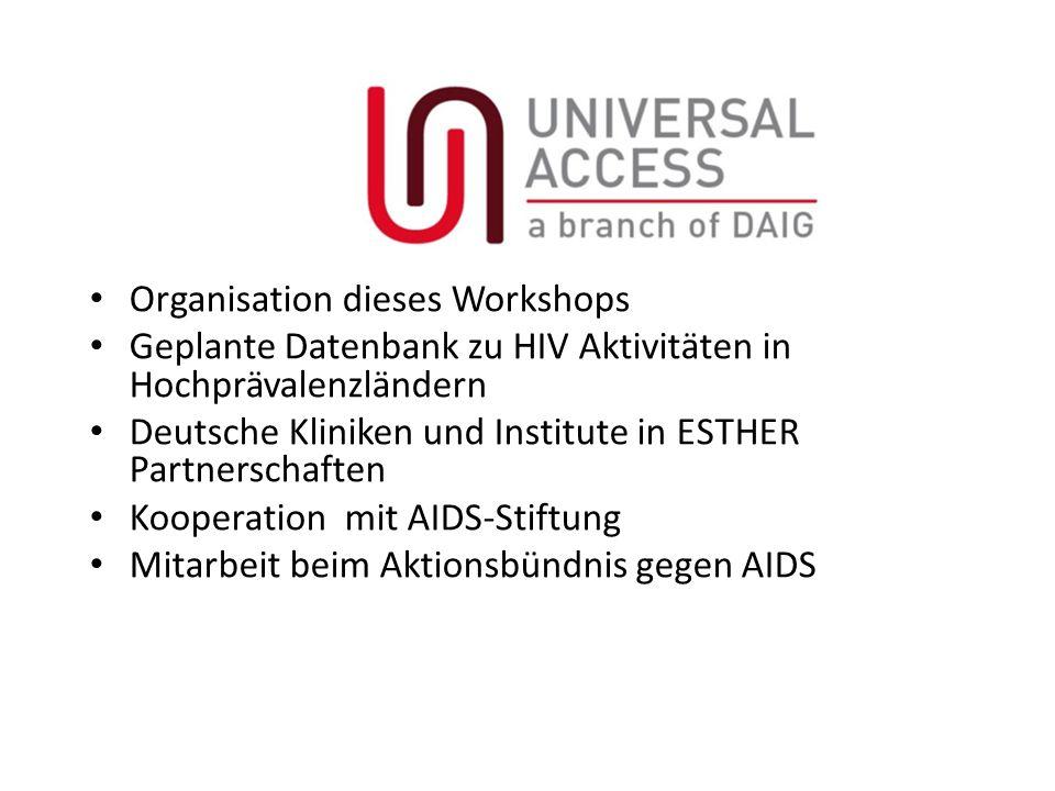 Organisation dieses Workshops Geplante Datenbank zu HIV Aktivitäten in Hochprävalenzländern Deutsche Kliniken und Institute in ESTHER Partnerschaften