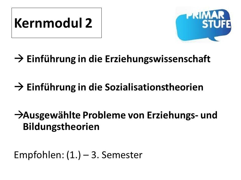 Kernmodul 2 Einführung in die Erziehungswissenschaft Einführung in die Sozialisationstheorien Ausgewählte Probleme von Erziehungs- und Bildungstheorie