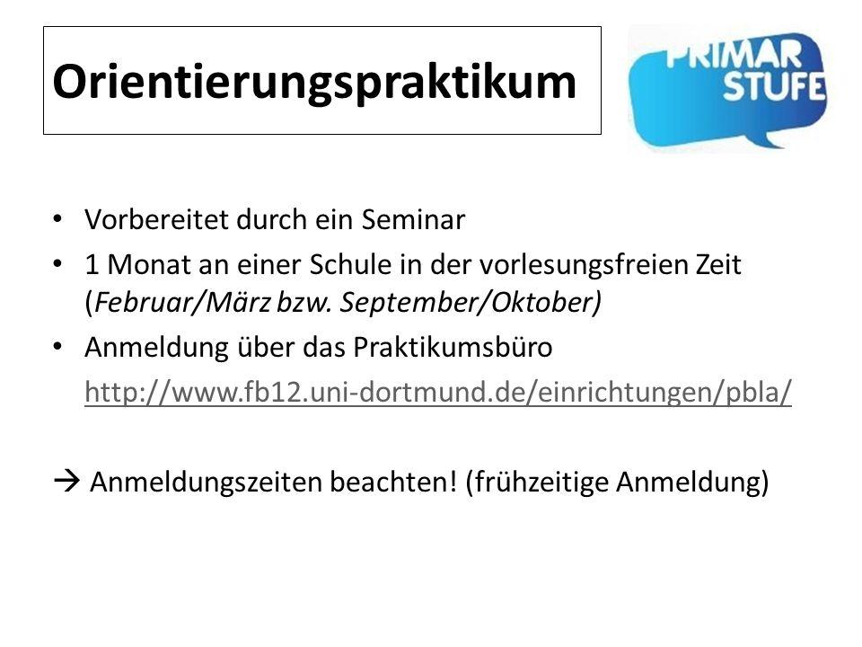 Orientierungspraktikum Vorbereitet durch ein Seminar 1 Monat an einer Schule in der vorlesungsfreien Zeit (Februar/März bzw. September/Oktober) Anmeld