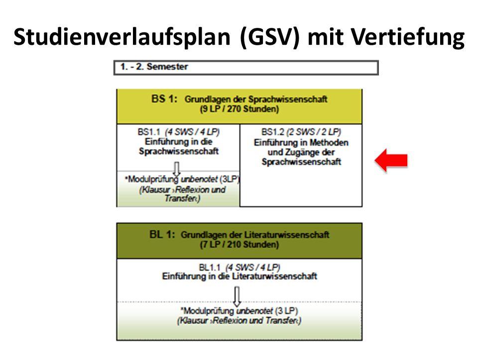 Studienverlaufsplan (GSV) mit Vertiefung