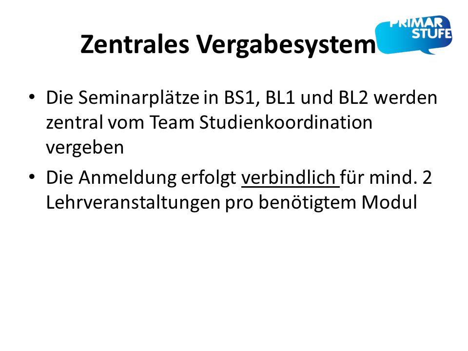 Zentrales Vergabesystem Die Seminarplätze in BS1, BL1 und BL2 werden zentral vom Team Studienkoordination vergeben Die Anmeldung erfolgt verbindlich f