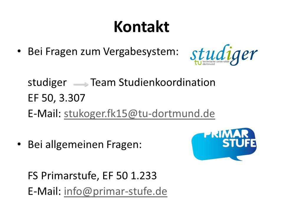 Kontakt Bei Fragen zum Vergabesystem: studiger Team Studienkoordination EF 50, 3.307 E-Mail: stukoger.fk15@tu-dortmund.destukoger.fk15@tu-dortmund.de
