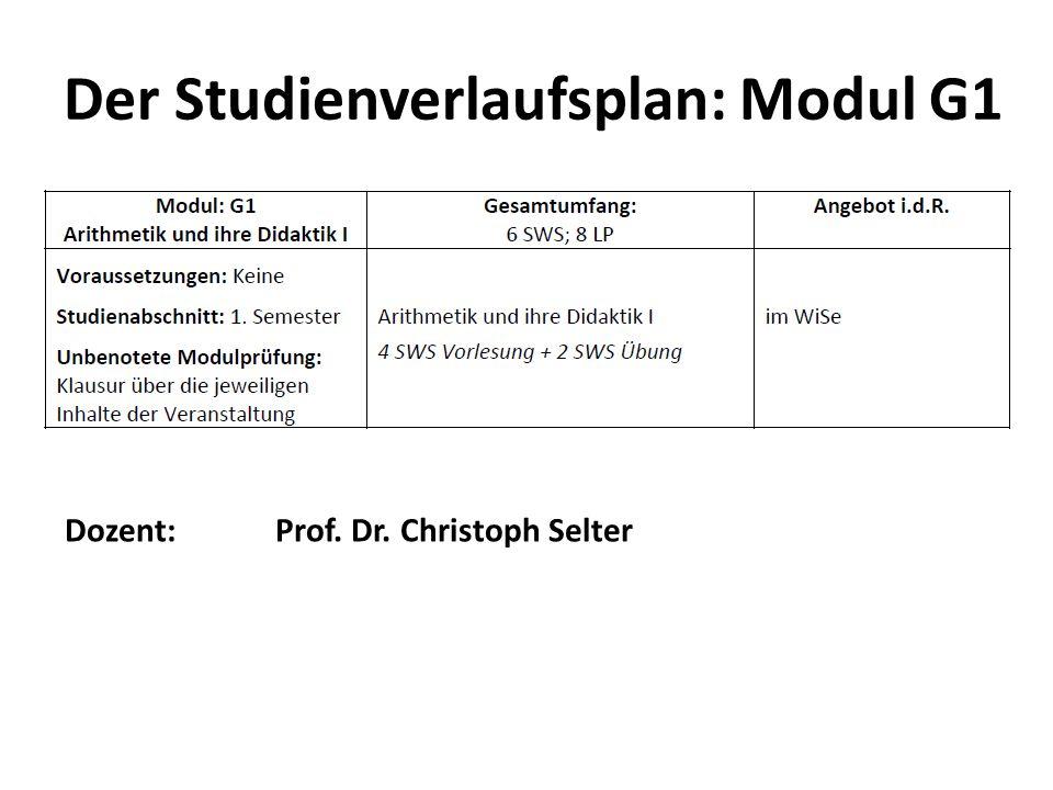 Der Studienverlaufsplan: Modul G1 Dozent: Prof. Dr. Christoph Selter