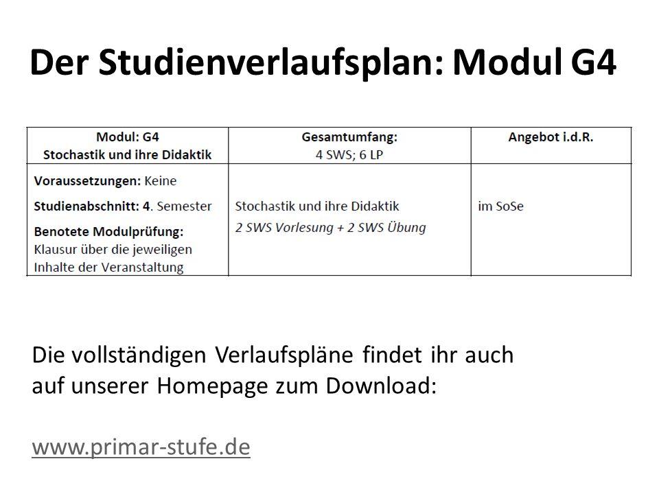 Der Studienverlaufsplan: Modul G4 Die vollständigen Verlaufspläne findet ihr auch auf unserer Homepage zum Download: www.primar-stufe.de