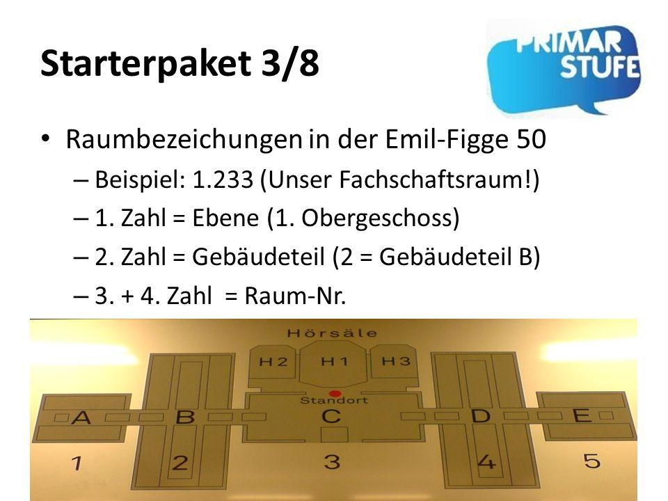 Starterpaket 3/8 Raumbezeichungen in der Emil-Figge 50 – Beispiel: 1.233 (Unser Fachschaftsraum!) – 1. Zahl = Ebene (1. Obergeschoss) – 2. Zahl = Gebä