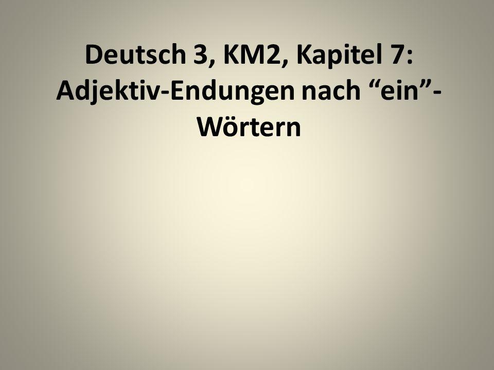Deutsch 3, KM2, Kapitel 7: Adjektiv-Endungen nach ein- Wörtern