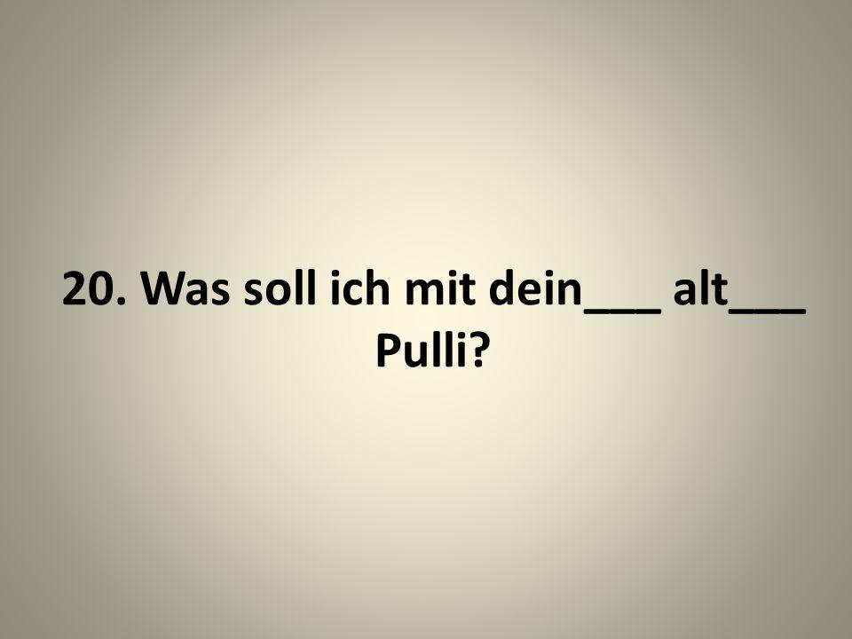 20. Was soll ich mit dein___ alt___ Pulli