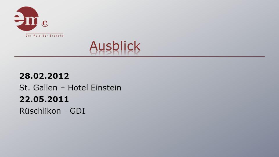 28.02.2012 St. Gallen – Hotel Einstein 22.05.2011 Rüschlikon - GDI