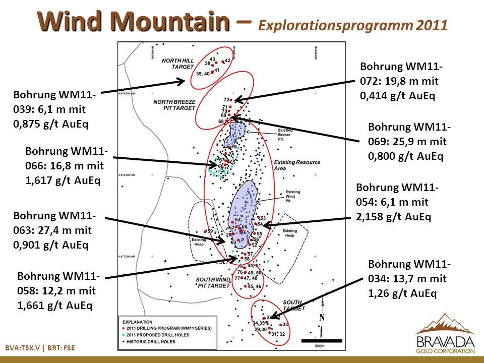 BVA:TSX.V | BRT: FSE Wind Mountain – Explorationsprogramm 2011 Bohrung WM11- 039: 6,1 m mit 0,875 g/t AuEq Bohrung WM11- 066: 16,8 m mit 1,617 g/t AuEq Bohrung WM11- 063: 27,4 m mit 0,901 g/t AuEq Bohrung WM11- 058: 12,2 m mit 1,661 g/t AuEq Bohrung WM11- 072: 19,8 m mit 0,414 g/t AuEq Bohrung WM11- 069: 25,9 m mit 0,800 g/t AuEq Bohrung WM11- 054: 6,1 m mit 2,158 g/t AuEq Bohrung WM11- 034: 13,7 m mit 1,26 g/t AuEq