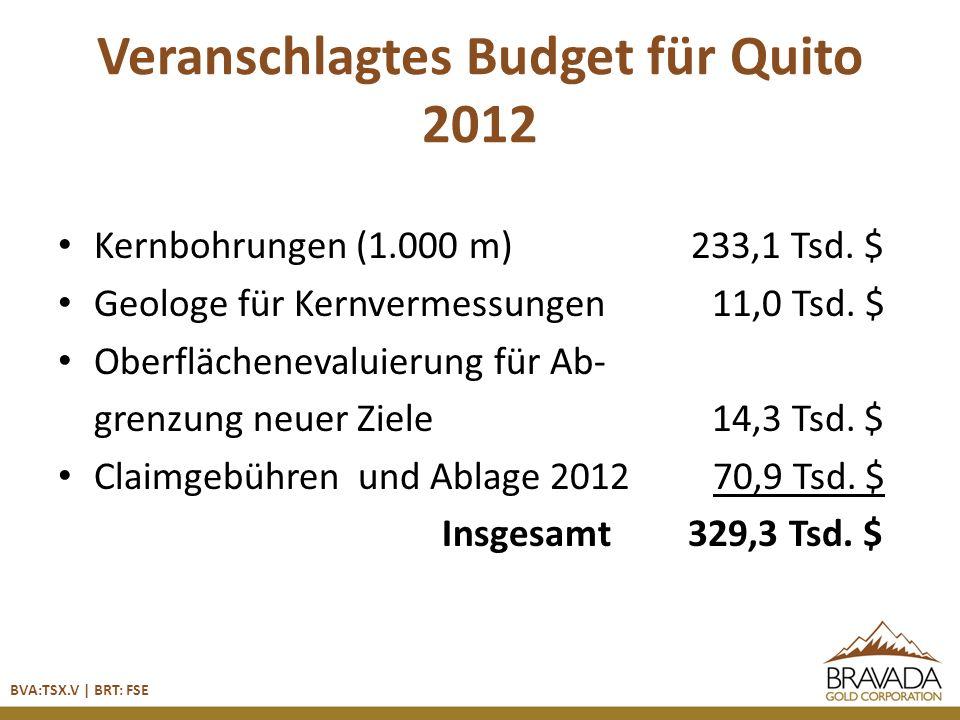 Veranschlagtes Budget für Quito 2012 Kernbohrungen (1.000 m) 233,1 Tsd.