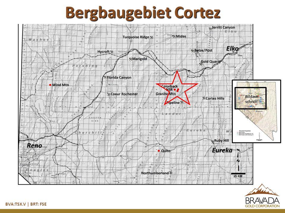 Reno Bildaus- schnitt Elko Eureka Bergbaugebiet Cortez