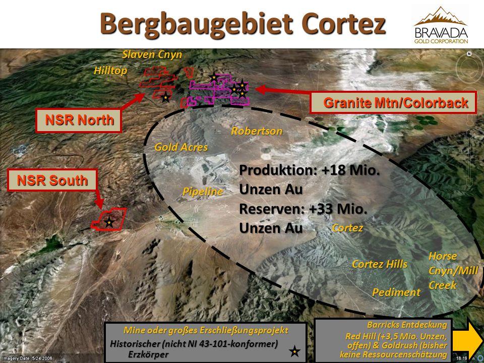 NSR North NSR North Mine oder großes Erschließungsprojekt Historischer (nicht NI 43-101-konformer) Erzkörper Granite Mtn/Colorback Granite Mtn/Colorback NSR South NSR South Slaven Cnyn Hilltop Horse Cnyn/Mill Creek Produktion: +18 Mio.