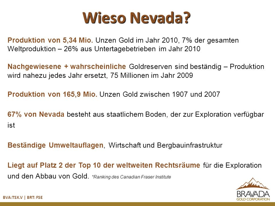 Lagerstätte Deep Min Ressource Wind Mtn Main Wind Mountain Wind Mountain – Querschnitt, Blick nach Norden Feeder-Struktur Au > 0,015 Unze/t Au > 0,005 Unze/t Verwerfung Wind Mtn Klastische Sedimente +/- Sinter Seesedimente BVA:TSX.V | BRT: FSE