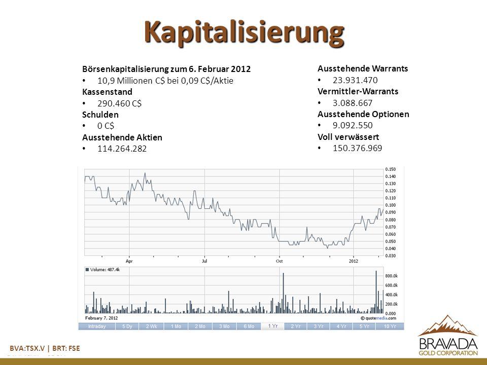 Kapitalisierung BVA:TSX.V | BRT: FSE Börsenkapitalisierung zum 6.
