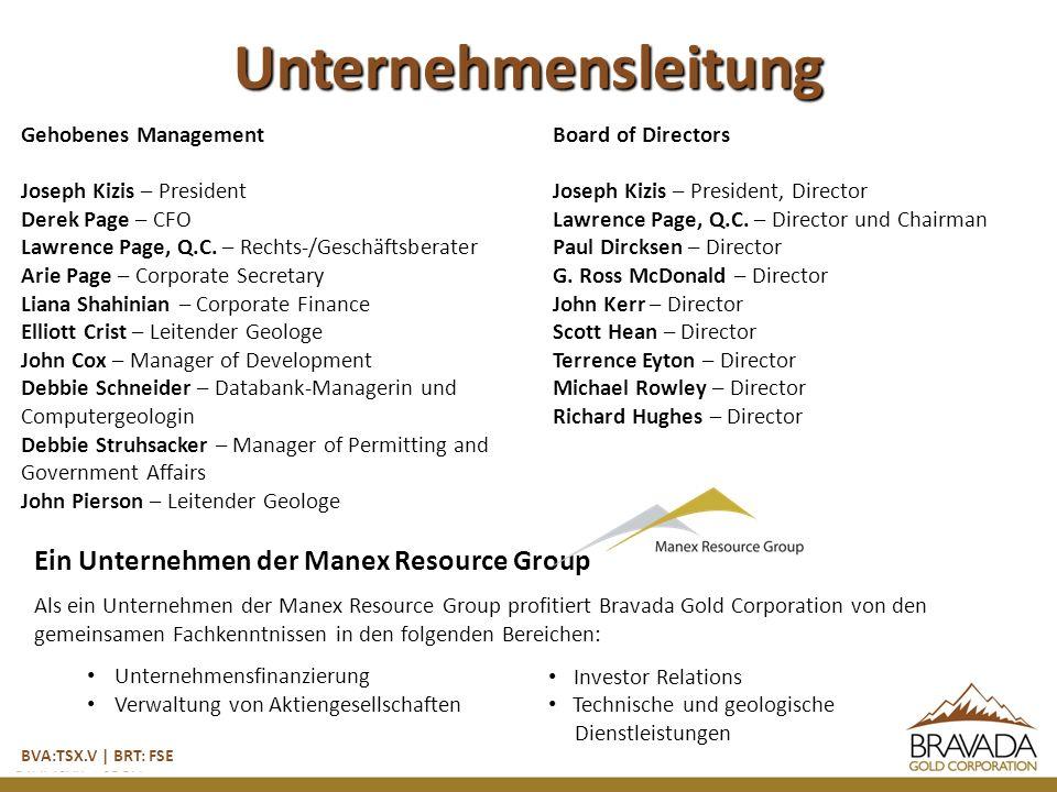 Unternehmensleitung Gehobenes Management Joseph Kizis – President Derek Page – CFO Lawrence Page, Q.C.