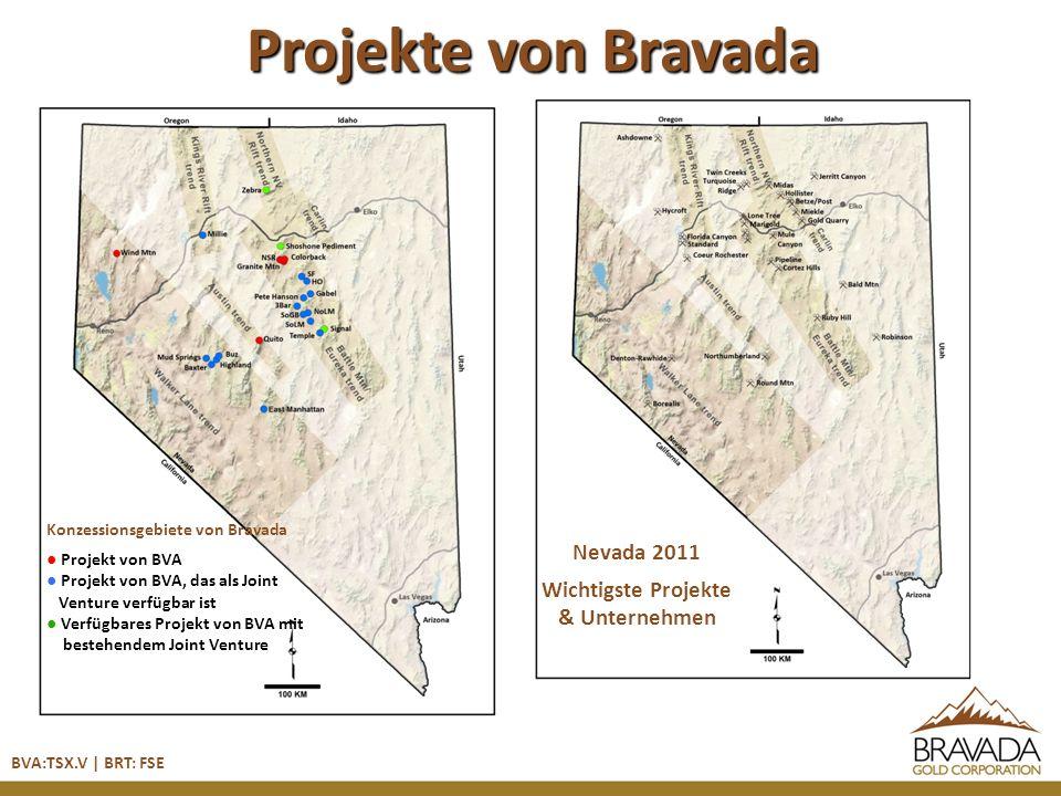 Projekte von Bravada Konzessionsgebiete von Bravada Projekt von BVA Projekt von BVA, das als Joint Venture verfügbar ist Verfügbares Projekt von BVA mit bestehendem Joint Venture Nevada 2011 Wichtigste Projekte & Unternehmen