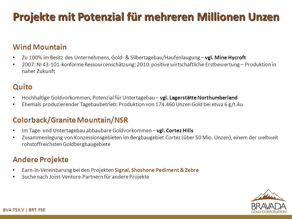 Wind Mountain Zu 100% im Besitz des Unternehmens, Gold- & Silbertagebau/Haufenlaugung – vgl.