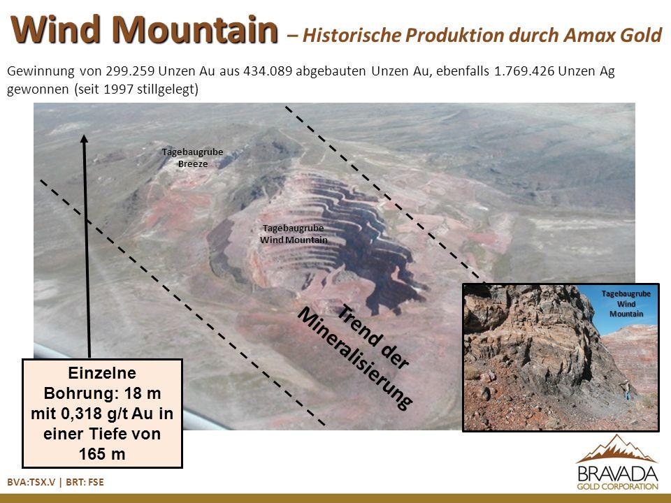 Wind Mountain – Wind Mountain – Historische Produktion durch Amax Gold Gewinnung von 299.259 Unzen Au aus 434.089 abgebauten Unzen Au, ebenfalls 1.769.426 Unzen Ag gewonnen (seit 1997 stillgelegt) BVA:TSX.V | BRT: FSE Trend der Mineralisierung Einzelne Bohrung: 18 m mit 0,318 g/t Au in einer Tiefe von 165 m Tagebaugrube Wind Mountain Tagebaugrube Breeze Tagebaugrube Wind Mountain