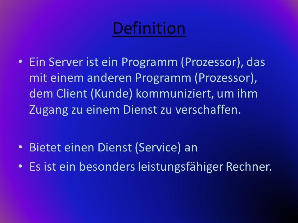 Definition Ein Server ist ein Programm (Prozessor), das mit einem anderen Programm (Prozessor), dem Client (Kunde) kommuniziert, um ihm Zugang zu eine