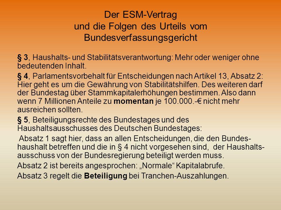 Der ESM-Vertrag und die Folgen des Urteils vom Bundesverfassungsgericht § 3, Haushalts- und Stabilitätsverantwortung: Mehr oder weniger ohne bedeutend