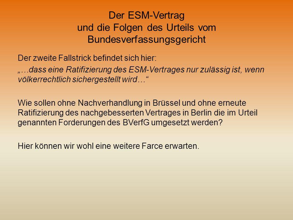 Der ESM-Vertrag und die Folgen des Urteils vom Bundesverfassungsgericht Der zweite Fallstrick befindet sich hier: …dass eine Ratifizierung des ESM-Ver