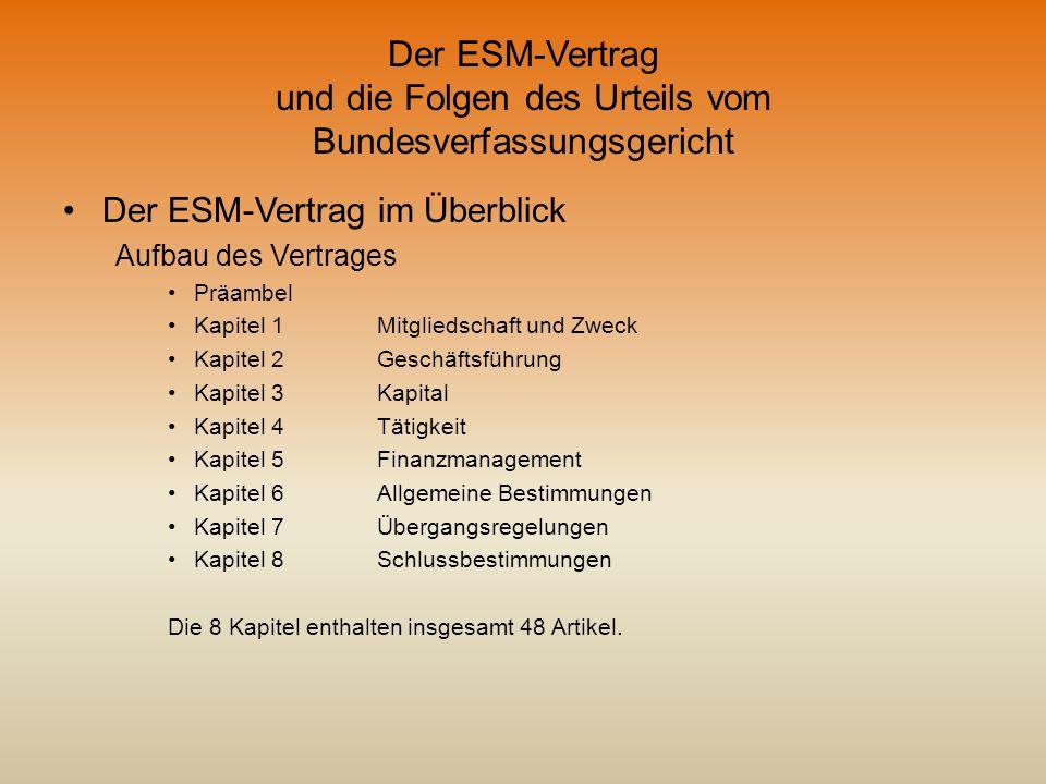 Der ESM-Vertrag und die Folgen des Urteils vom Bundesverfassungsgericht Der ESM-Vertrag im Überblick Aufbau des Vertrages Präambel Kapitel 1Mitgliedsc