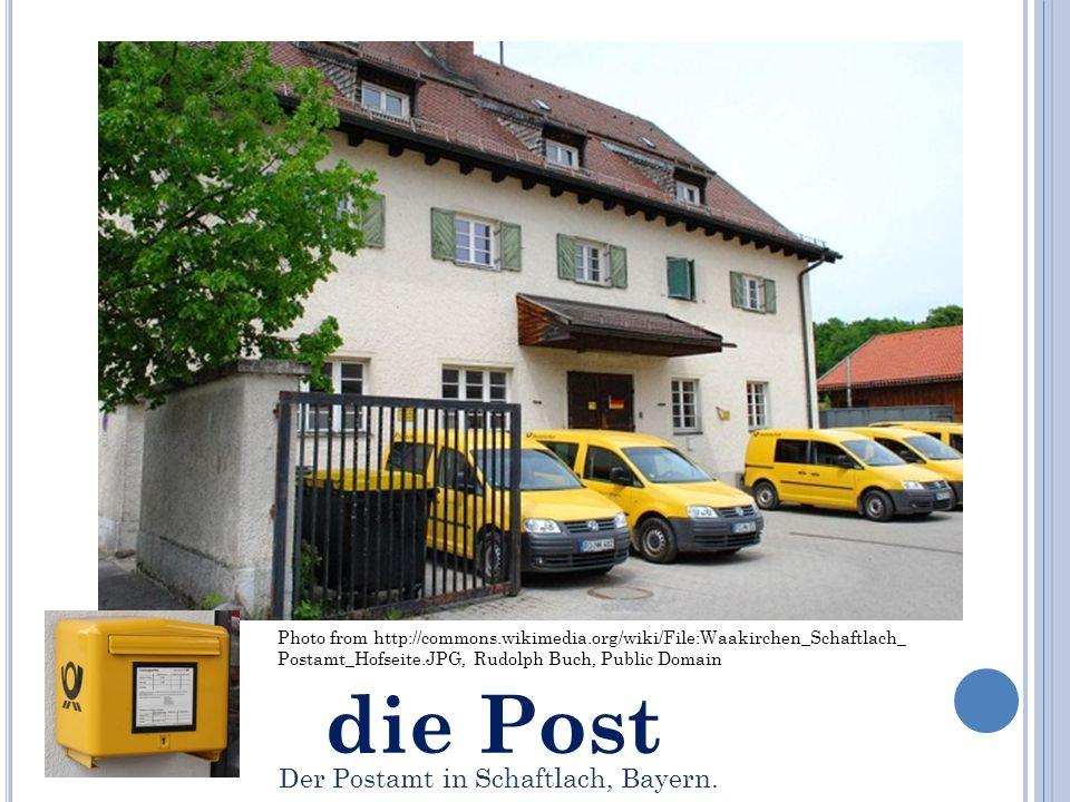 die Post Photo from http://commons.wikimedia.org/wiki/File:Waakirchen_Schaftlach_ Postamt_Hofseite.JPG, Rudolph Buch, Public Domain Der Postamt in Schaftlach, Bayern.