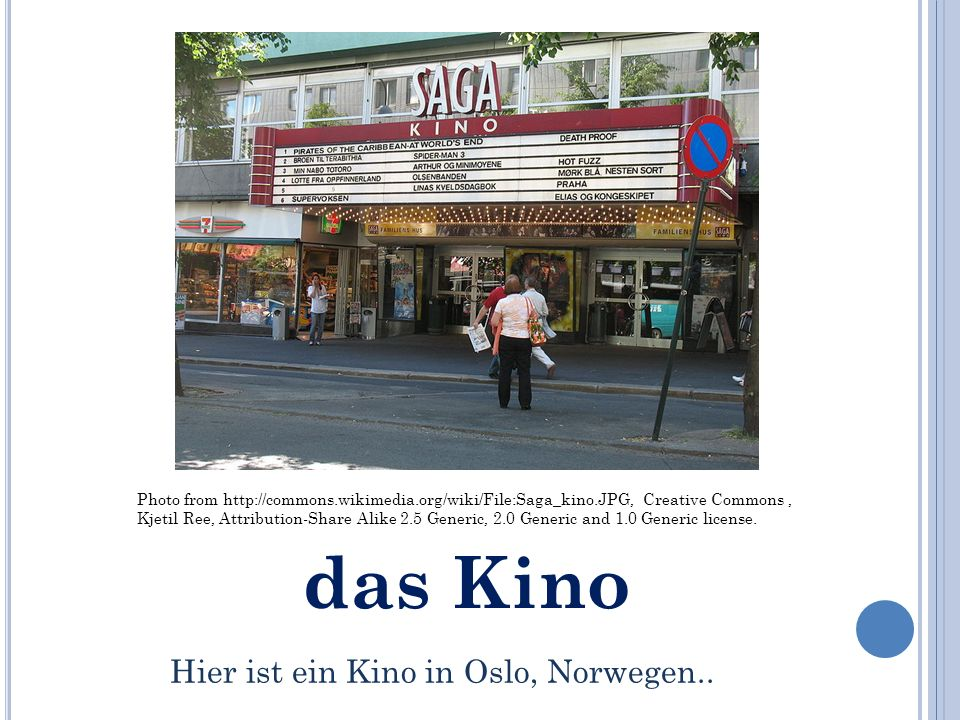 das Kino Photo from   Creative Commons, Kjetil Ree, Attribution-Share Alike 2.5 Generic, 2.0 Generic and 1.0 Generic license.