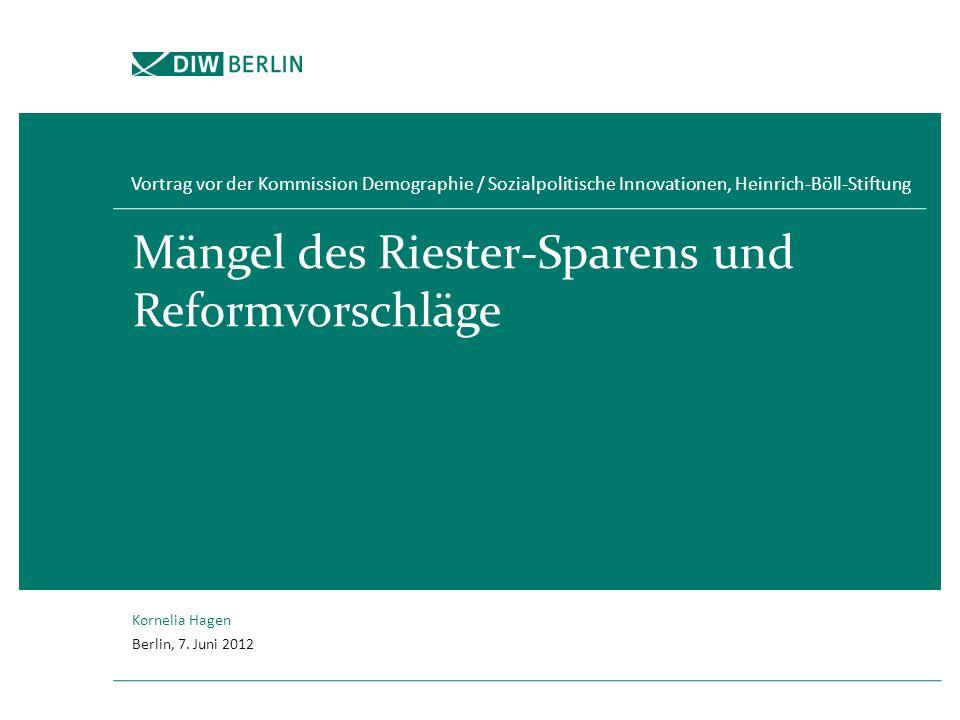 Mängel des Riester-Sparens und Reformvorschläge Vortrag vor der Kommission Demographie / Sozialpolitische Innovationen, Heinrich-Böll-Stiftung Kornelia Hagen Berlin, 7.
