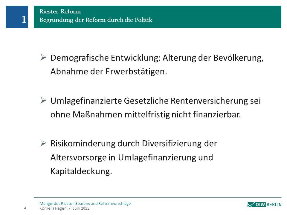 Riester-Reform Begründung der Reform durch die Politik Demografische Entwicklung: Alterung der Bevölkerung, Abnahme der Erwerbstätigen.