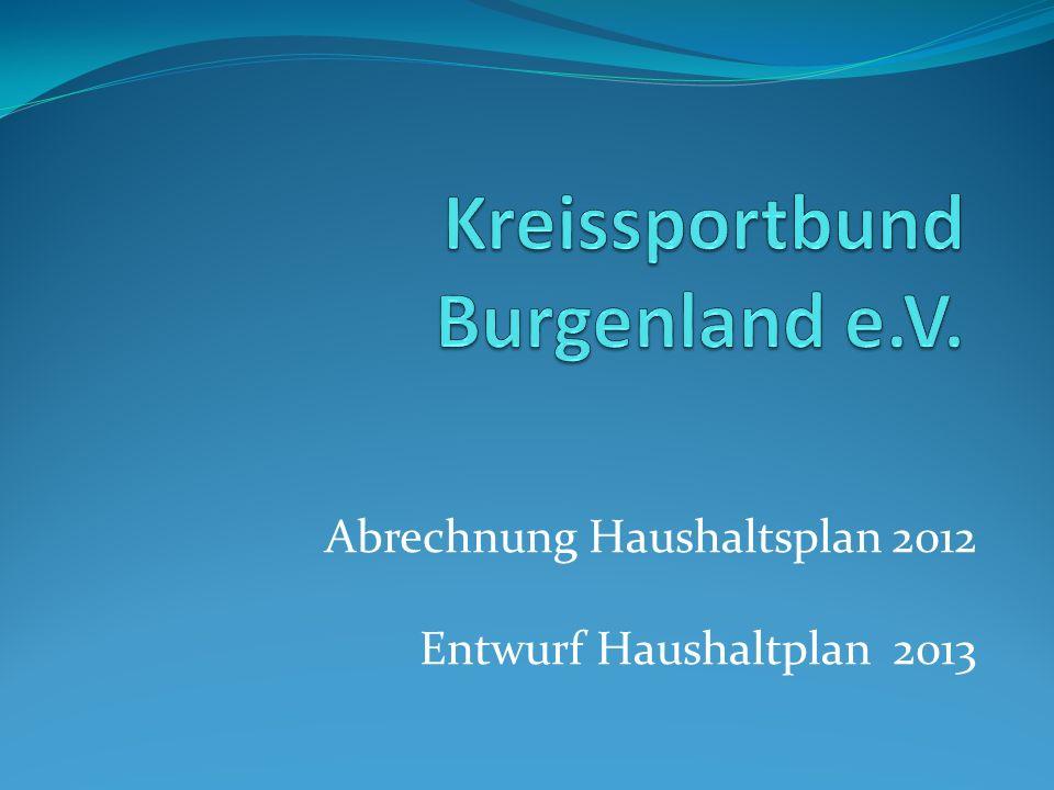 Abrechnung Haushaltsplan 2012 Entwurf Haushaltplan 2013