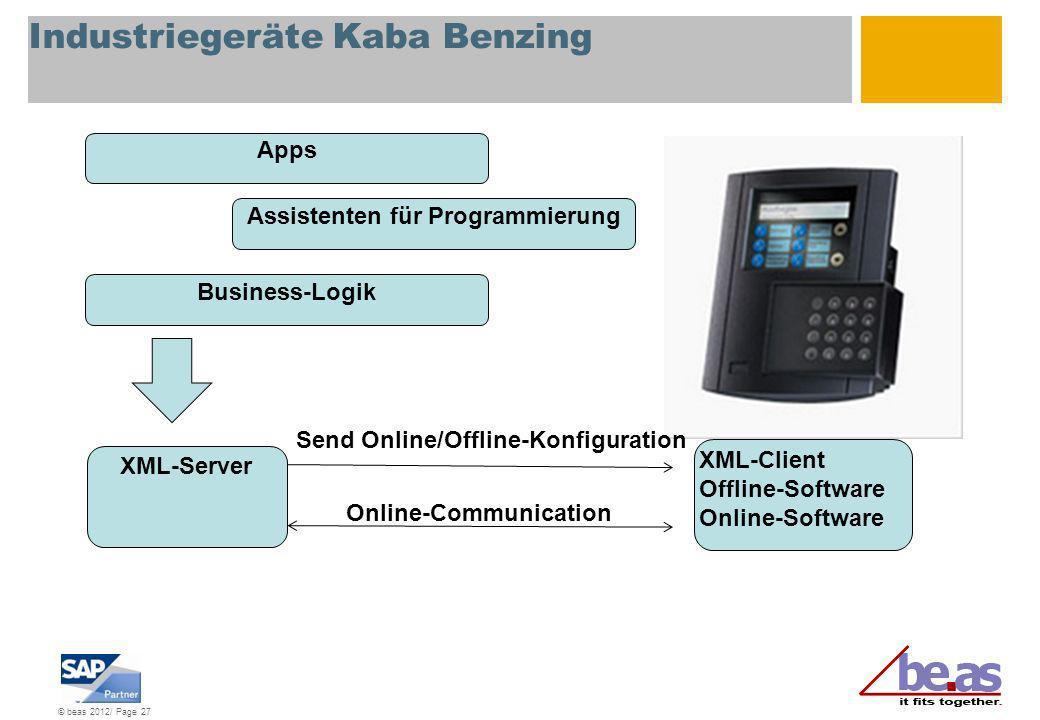© beas 2012/ Page 27 Industriegeräte Kaba Benzing XML-Server XML-Client Offline-Software Online-Software Send Online/Offline-Konfiguration Online-Comm