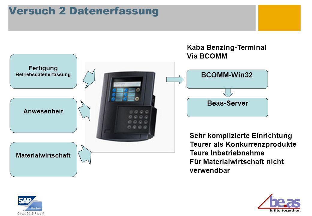 © beas 2012/ Page 6 Versuch 3 Datenerfassung Fertigung Betriebsdatenerfassung Anwesenheit Materialwirtschaft Windows CE + Pocketbuilder Sehr langsam Sehr aufwendige Inbetriebnahme und komplizierte Einrichtung Entwicklung wurde abgebrochen Sybase-Datenbank MSSQL-Datenbank