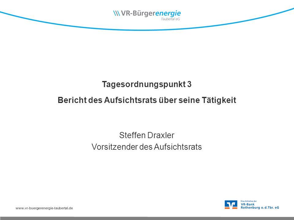 www.vr-buergerenergie-taubertal.de Tagesordnungspunkt 3 Bericht des Aufsichtsrats über seine Tätigkeit Steffen Draxler Vorsitzender des Aufsichtsrats