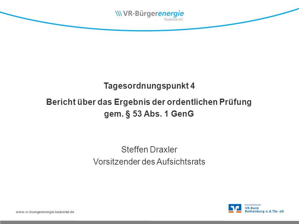 www.vr-buergerenergie-taubertal.de Tagesordnungspunkt 4 Bericht über das Ergebnis der ordentlichen Prüfung gem.